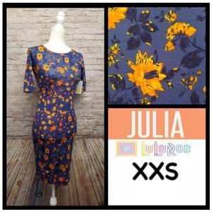 NWT LuLaRoe Blue & Orange Flowered Julia Dress